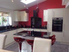 Cosmic black granite kitchen worktops in Cheshire .