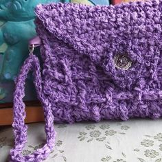 Passionate About Purple Crocheted Envelope Clutch | GossamerTangles - Bags & Purses on ArtFire