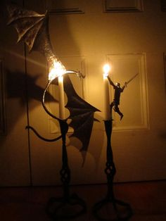 Forged Dragon and Knight Candle Holders by LockeForge on Etsy