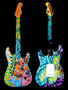 Hand Painted Fender Guitar by Elizabeth Elequin. I have never played a guitar but I do appreciate how beautifully this was done.