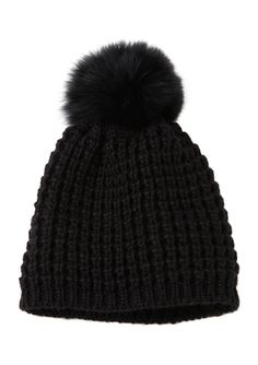 KYI KYI Toque with Fox Fur Pom Pom $39.99