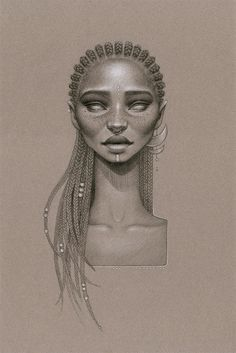 """Gorgeous new series from artist Sara Golish titled """"MoonDust""""   MoonDust is Sara Golish's ode to to Afrofuturism and natural hair. - art, sketch, drawing, braids"""