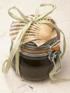 Homemade Sea Salt Foot Scrub  This natural foot scrub is wonderful for sloughing off dead skin during the winter months — it's as good for your feet as walking barefoot along a sandy beach. Mix up a batch of this sea-inspired scrub for a great holiday gift.