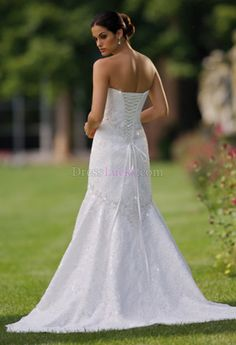 White Strapless Sleeveless Hall Lace Wedding Dresses With Lace WD1994