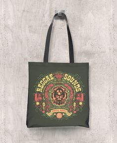 Reggae Sounds - All-Over Printed Poly Tote Bag (Olive) – The Color Pop Shop #reggaemusic #reggae #totebag #music