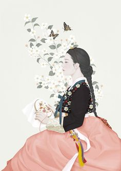 Delicate Illustrations by Choi Mi Kyung - including gorgeous Hanbok Korean Painting, Painting & Drawing, Korean Illustration, Illustration Art, Art Asiatique, Poster S, Korean Traditional, Art Abstrait, Asian Art