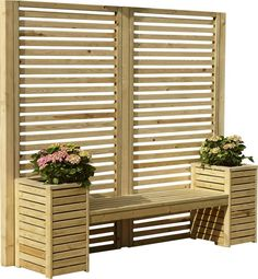 Adalynn Wooden Planter Bench An alternative solution to a garden bench, the garden creations seat set including screens is ideal for any area. Add your favourite plants to the planters and sit back and enjoy. Privacy Planter, Planter Bench, Garden Privacy, Outdoor Privacy, Backyard Privacy, Privacy Ideas For Deck, Privacy Wall On Deck, Privacy Trellis, Patio Privacy Screen