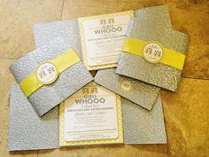 Yellow & Gray Owl Themed Twins Baby Shower.  Love these invites.   Super cute