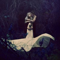 Hiding Fragments of the Future by Brooke Shaden[ He whispered secrets, things the elders didn't want her to know. But she had to know, she couldn't stay ignorant; he needed her help. Pyramus And Thisbe, Midsummer Nights Dream, Story Inspiration, Fine Art Photography, The Darkest, Fairy Tales, Photoshoot, Poses, In This Moment