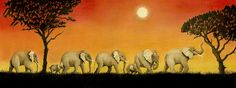 """Elephant Trek #2"" is large, long & colorful, matted in a 20"" x 10"" frame."