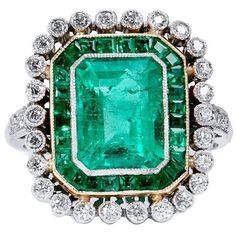 Preowned Colombian Emerald Diamond Gold Platinum Ring (£9,085) ❤ liked on Polyvore featuring jewelry, rings, green, pre owned diamond rings, gold emerald ring, platinum diamond ring, square cut diamond ring and bezel set diamond ring