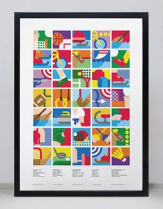 Poster with Olympic Sports Icons; would be great to cut up into squares, hand out to kids, and have them recreate using cut up paper