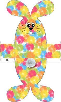 Готовимся к Пасхе вместе с детьми. Распечатайте, вырежьте, сложите по пунктирным линиям и склейте данные выкройки, и эти милые кролики украсят ваш пасхальный стол или послужат милым подарком для Easy Easter Crafts, Easter Art, Crafts For Kids, Easter Templates, Easter Printables, Diy Ostern, Diy Gift Box, Shaped Cards, Design Crafts