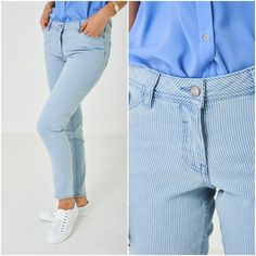 Womens Light Pale Blue Skinny Slim Pin Stripe Jeans Mid Rise UK 10 12 Denim NEW #Unbranded