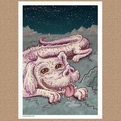 The whole #Falkor print.  Get yours: http://n8br.us/crazy4cultfalkor  #neverendingstory #crazy4cult #gallery1988 #theneverendingstory #illustration #prints November 21 2015 at 07:57PM