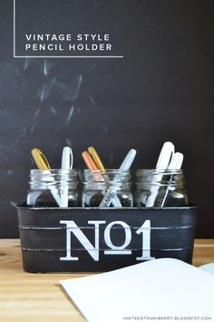 MINTED STRAWBERRY: Learn how to make your own vintage rustic style pencil holder for your desk or office!