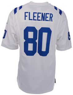 The men's Nike NFL Game jersey will be the only one you choose to wear while you cheer on your Indianapolis Colts. The jersey is inspired by what Coby Fleener wears on the field and designed for movement and a light soft feel. V-neckline with TPU shield at collar Pullover style Short sleeves Screen print graphics Woven jock tag at hem Tailored fit Officially licensed NFL product Nike on-field apparel Polyester Machine washable