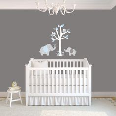 Mini Jungle Decals Small Elephant Wall Decal Giraffe Decal - Nursery wall decals elephant