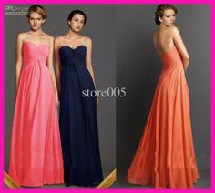 Wholesale Bridesmaid Dresses - Buy Coral Navy Blue Orange Sweetheart Long Chiffon Bride Maid Bridesmaid Dresses B2097, $96.0 | DHgate