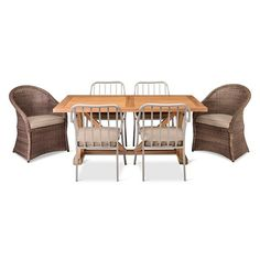 The Morie 7-Piece Dining Set from Threshold is the perfect thing to transform your patio or deck space. This set includes 1 farmhouse table, constructed from gorgeous hardwood; 4 metal armchairs with weather-resistant and rust-resistant powder-coated construction; and 2 all weather wicker armchairs. This set boasts clean lines, plush seat cushions, and undeniable style.