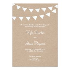 White Bunting and Cardboard Wedding Card