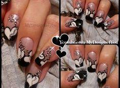 nail art from the nails magazine nail art gallery mixed media nail art nails valentines day valentines valentines nails valentines day hearts Valentine's Day Nail Designs, Black Nail Designs, Gorgeous Nails, Pretty Nails, Valentine Nail Art, Luxury Nails, Heart Nails, Acrylic Nail Art, Fancy Nails