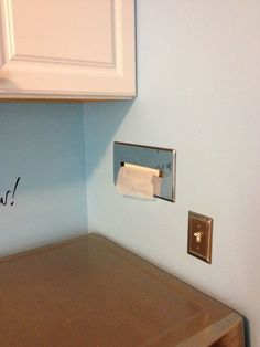 Get Out! Use a tissue dispenser for fabric softener sheets in the laundry room! This is too cool for words.
