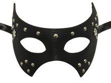 Black Leather Metal Stud Fleur De Lis Masquerade Halloween Prom Mask