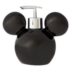 Fans of Disney will love this minimalistic Mickey Mouse soap pump. The bathroom accessory features a black representation of Mickey's head. It can be filled with soap or lotion. The plastic exterior c Mickey Mouse Bathroom, Mickey Mouse House, Mickey Mouse Kitchen, Disney Kitchen, Mickey Minnie Mouse, Mini Mouse, Cozinha Do Mickey Mouse, Disney Rooms, Disney Nursery