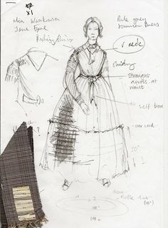 """Costume illustration for """"Jane Eyre"""" (Mia Wasikowska) from 'Jane Eyre' 2011. Design by Michael O'Connor."""