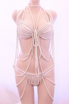 Made To Order - Burlesque Movie Christina Aguilera White PEARL Bra and Panty Showgirl Custom Costume. $425.00, via Etsy.