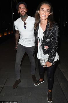 The look of love! Megan Mckenna, 23, and her boyfriend Pete Wicks, 26, looked blissfully happy as they left Tattu Restaurant in Manchester on Thursday