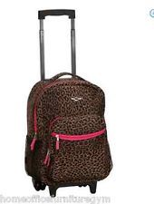 Backpack 17 Inch Rolling Luggage Leopard Girls Travel School Polyester