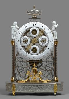 An extremely rare Louis XVI platinum, silver and gilt brass and gilt bronze great wheel multi-dial skeleton clock of one month duration, with day, date and lunar calendar has been attributed to esteemed French clockmaker Antide Janvier (1751-1835) by Swiss antiques dealer Robert Redding