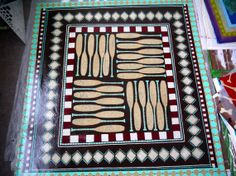 Hand Painted Canvas floor cloth with oars geometrical by SWBSTUDIO, $22.00