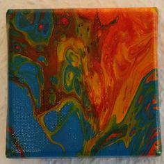 Acrylbild 10x10 Blau, Orange, Rot, Grün Http://etsy.me