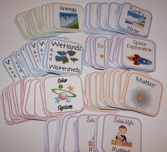 Science Matching Game cards...Includes 7 sets with 24 cards each...Categories are Energy, Earth's Water, Wetlands and Watersheds, Space Exploration, Solar System, Matter, and Scientific Method...These are great for when students finish their assignments early.