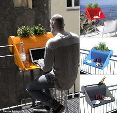 Escritorio en forma de gancho para colgarlo en tu balcón