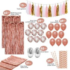 birthday decorations This kit includes 4 of the BEST SELLING Rose Gold party decorations. Your gorgeous party set includes 9 GORGEOUS rose gold balloons, and 9 GORGEOUS c Gold Birthday Party, Birthday Party For Teens, 20th Birthday, 50th Birthday Ideas For Women, 13th Birthday Parties, 22 Birthday Cakes, Bday Party Ideas, 18th Party Ideas, Teen Birthday Invitations