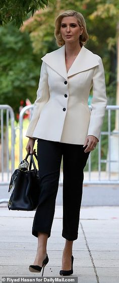 Outfit of the day: The first daughter was dressed to impress in a crisp white blazer with black buttons that matched her cropped pants Princess Grace Kelly, First Daughter, Victorian Women, Ivanka Trump, Blazer Dress, Old Hollywood, Cropped Pants, Dress To Impress, Outfit Of The Day