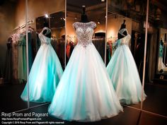 Turquoise Ball Gown-Beaded Halter Neckline-Cap Sleeves-Lace up Back-116EC0161660