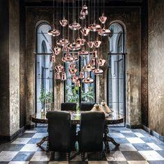 Luxury Designer Nostalgia Suspension Lamp - Italian Designer Lighting that recalls the fabulous Living Coral PANTONE Color of the Year 2019.