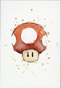 Red Mushroom ORIGINAL Watercolor Painting, Green Mushroom Geek Nintendo Art…