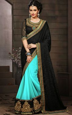 Picture of Fancy Black and Cyan Blue Color Saree
