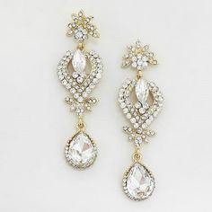 "Elegant Bridal Wedding Prom GOLD & CLEAR 3 1/4"" Long Earrings #DropDangle"