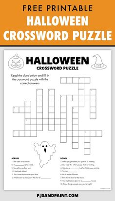 This free printable Halloween crossword puzzle is a spooky and fun activity for kids to work on during this upcoming Halloween season. Halloween Crossword Puzzles, Free Printable Crossword Puzzles, Halloween Puzzles, Halloween Word Search, Halloween Maze, Halloween Worksheets, Halloween Words, Halloween Activities For Kids, Halloween Season