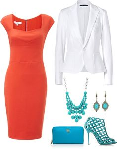 """""""turquoise and coral"""" by hansqueakie on Polyvore"""