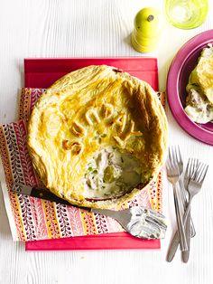 Chicken and leek puff pie