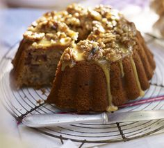 Banana date cake with walnut & honey glaze recipe, Sticky and sweet, this bundt-shaped banana bread with buttery glaze and cinnamon is a show-stopping bake Food Cakes, Cupcake Cakes, Bundt Cakes, Rose Cupcake, Cupcakes, Fruit Cakes, Cake Recipes, Dessert Recipes, Picnic Recipes