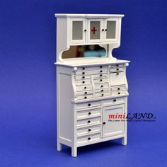 Medical doctor dentist cabinet Fine Quality Dollhouse miniature 1:12 white